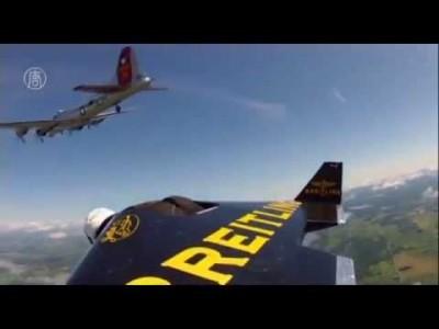Jet Motorlu Kanatlarla Uçan Adam